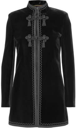 Saint Laurent Embroidered Velvet Jacket - Black