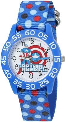 Marvel Boy's 'Captain America' Quartz Plastic and Nylon Automatic Watch, Color: (Model: W003213)