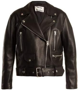 Acne Studios Merlyn Oversized Leather Biker Jacket - Womens - Black