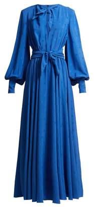 MSGM Star Jacquard Crepe Dress - Womens - Blue
