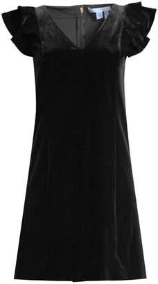 Draper James Velvet Ruffle Shoulder Shift Dress