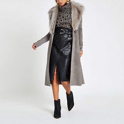 Womens Grey suede belted faux fur robe coat