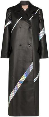 MATÉRIEL long holographic stripe overcoat