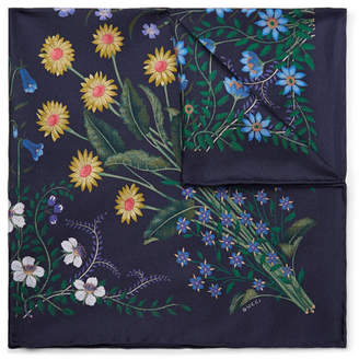 Gucci Floral-Print Silk-Twill Pocket Square