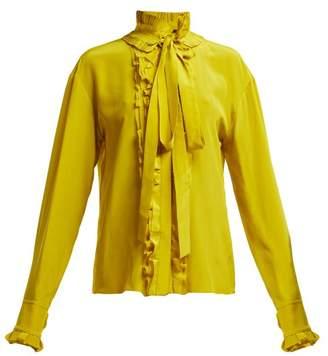 Haider Ackermann Sophora Ruffled Tie Neck Silk Blouse - Womens - Yellow