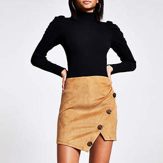River Island Tan faux suede mini skirt