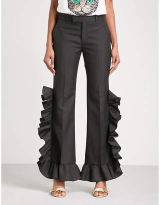 Gucci Ladies Black Ruffled Wide High-Rise Wool and Mohair-Blend Trousers