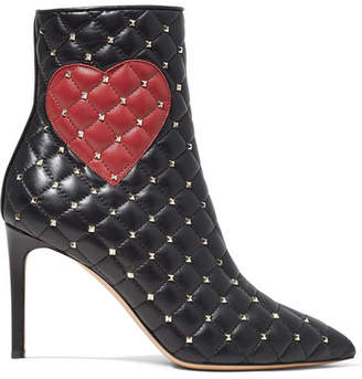 Valentino Garavani Studded Quilted Leather Ankle Boots - Black