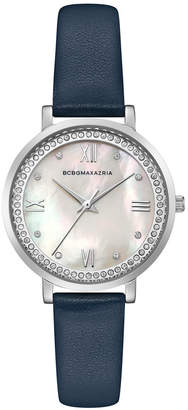 BCBGMAXAZRIA Ladies Blue Leather Strap Watch with Light Mop Dial, 33MM