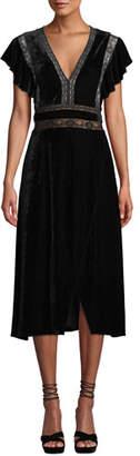 Saylor Alexandra Velvet & Lace V-Neck Dress