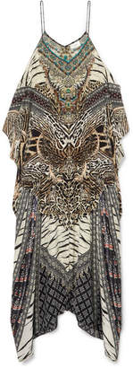 Camilla The Long Way Home Embellished Printed Silk Crepe De Chine Kaftan - Brown