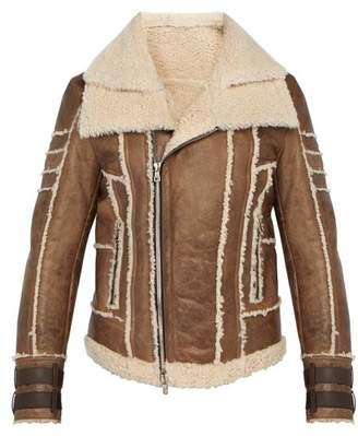 Balmain Leather And Shearling Biker Jacket - Mens - Tan