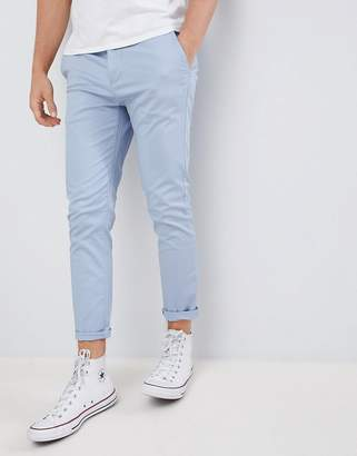 Asos Design Skinny Cropped Chinos In Dusky Blue