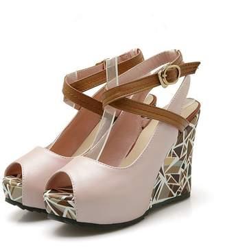 Logan Jerald Sexy Peep Toe Wedges Party Pumps Autumn Shoes Women Strap Soft Leather Platform Pumps Size 34-41 9