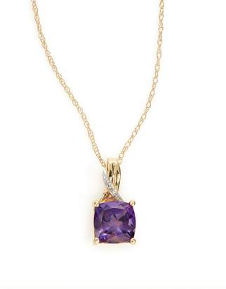 Fine Jewellery 14k Yellow Gold Square Amethyst and Diamond Necklace