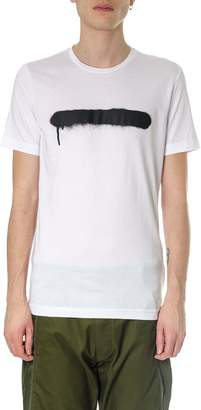Diesel Black Gold White Basic T-shirt In Cotton With Spray Detail