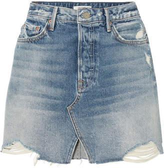 GRLFRND Milla Distressed Denim Mini Skirt - Mid denim