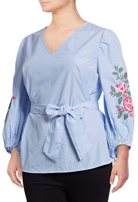 INC International Concepts Plus Embroidered Wrap Shirt