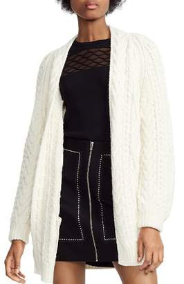 Maje Mouffle Cable-Knit Cardigan