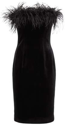 Jovani Strapless Velvet Feather Dress