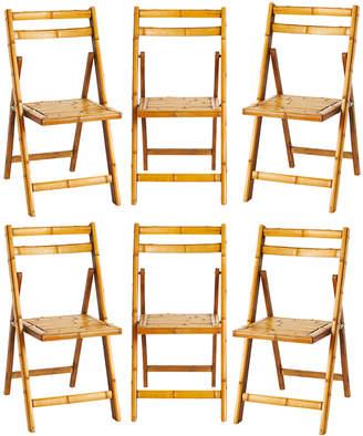 Rejuvenation Set of 6 Bamboo Folding Chairs
