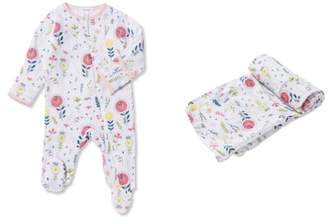Angel Dear Hickory Dickory Dock Footie & Swaddle Blanket Set