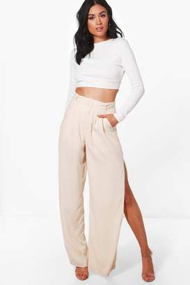 boohoo Eve Belted Tailored Wide Leg Split Side Trousers