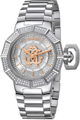 Roberto Cavalli By Franck Muller 35mm Pavé Crystal Stainless Steel Bracelet Watch
