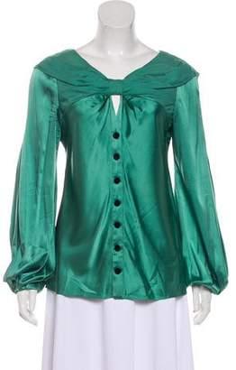 Zac Posen Silk Long-Sleeve Blouse