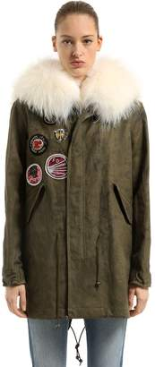 Mr & Mrs Italy Waxed Cotton Blend Parka Vest W/ Fur