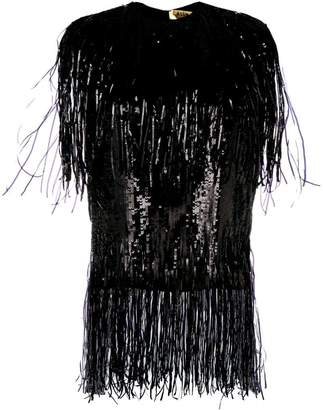 MSGM fringed sequinned top