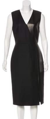 Jason Wu Leather-Paneled Virgin Wool Dress