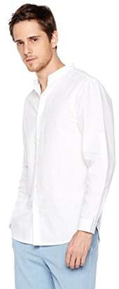 Isle Bay Linens Men's Linen Cotton Blend Roll-up Long Sleeve Band Collar Woven Shirt Standard Fit S White