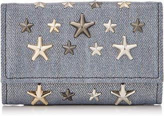 Jimmy Choo NEPTUNE Dusk Blue Metallic Denim Fabric Key Holder with Multi Metal Stars