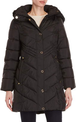 Anne Klein Faux Fur Trim Hooded Coat