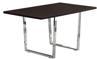 """Monarch Specialties DINING TABLE - 36""""X 60"""" / CAPPUCCINO / CHROME METAL"""