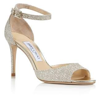 Jimmy Choo Women's Annie 85 Glittered Suede High-Heel Ankle Strap Sandals