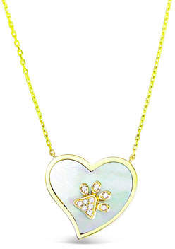 Frederic Sage 18k Gold Diamond Paw & Mother-of-Pearl Heart Pendant Necklace