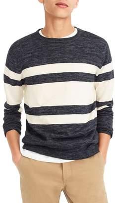 J.Crew Multistripe Cotton & Linen Blend Crewneck Sweater