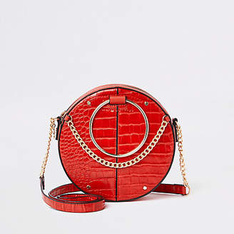 e8c0748d961 River Island Womens Red croc ring handle circle cross body bag