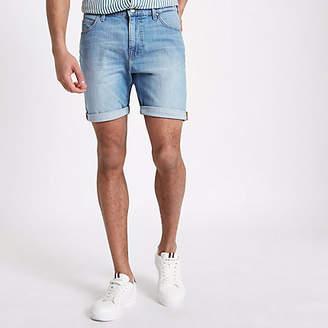 River Island Lee light blue rolled hem denim shorts