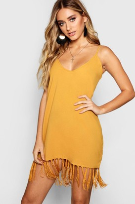 boohoo Tassel Trim Bohemian Cami Slip Dress
