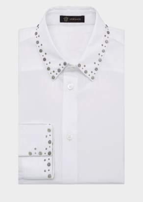 Versace Studded Collar Cotton Shirt