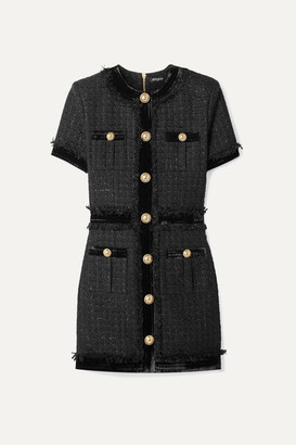 Balmain Velvet-trimmed Frayed Metallic Tweed Mini Dress - Black