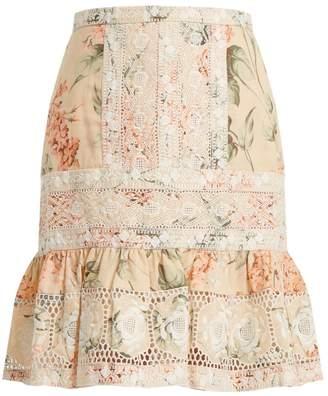 Zimmermann Prima Hydrangea linen and cotton-blend skirt