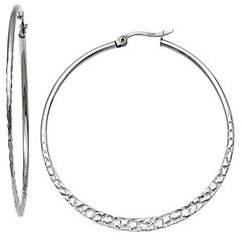 """Steel by Design Stainless Steel 2-1/8"""" Textured Hoop Earrings"""