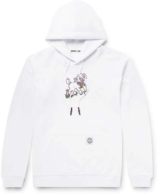 McQ Printed Fleece-Back Cotton-Jersey Hoodie - Men - White