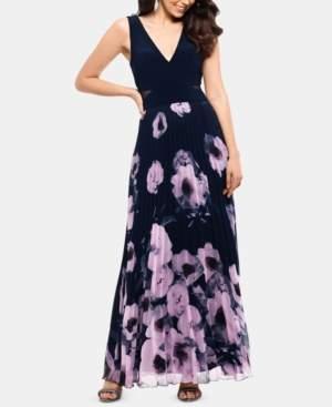 Xscape Evenings Petite Floral-Print Illusion-Cutout Gown