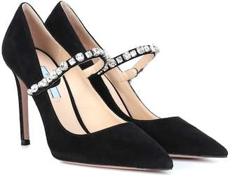 Prada Crystal-embellished suede pumps