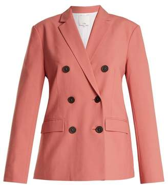 Tibi Double Breasted Twill Blazer - Womens - Pink